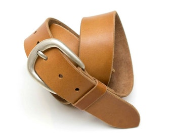 Leather belt - undyed - oiled - length 4 cm - 92 cm