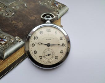 Vintage Pocket Watch Chronometer UGO, Retro French Mens Pocket Watch, Mechanical, Working, Open Face. Wedding Gift, Made in France, 1950s,