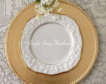 Square Luncheon Plate - Royal Stafford - OLD ENGLISH OAK - Finest Bone China -Gold Trim - Embossed