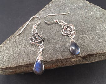Sterling silver Rose, Labradorite   earrings, sterling wires, Labradorite Earrings, Silver labradorite Earrings, Rose Earrings
