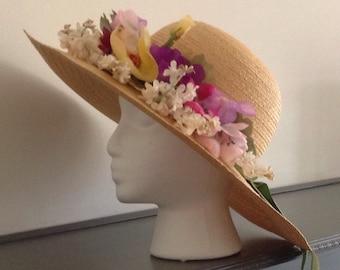 Vintage 1970/80 Straw Big Rim Hat with flowers by Mr John Jr