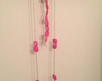 Pink Block Necklace and Bracelet