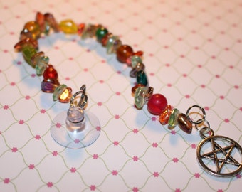 pentagram suncatcher colorful glass beads with a pentagram charm for home protection and pagan home decor 8 inches long