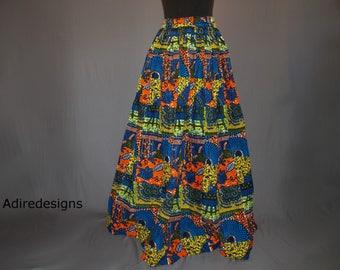 African print skirt, Ankara long skirt, Wax print, floor length, high waist skirt, maxi  tribal, Bohemian, Blue, Orange, Plus size, Patch