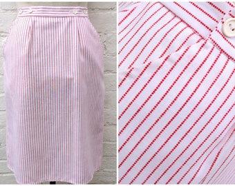 Nautical skirt, vintage women's fashion, button detail, red striped pattern