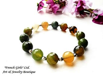 Agate Bracelet Beaded Gemstone Green Orange Brown Beads Green Blue Healing Stone Crystal Jewelry Chakra Stretch Meditation Zen Gems Bracelet