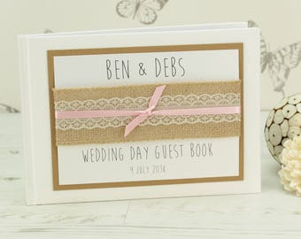 Personalised Hessian Lace Wedding Guest Book