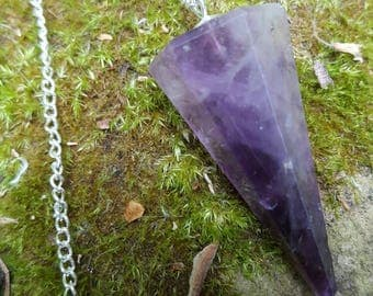 Amethyst Dowsing Pendulum Kit - pendulum, pouch and instructions on how to use dowing pendulum