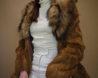 Statement Vintage Fur Tie Closure Coat