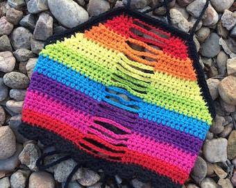 Rainbow Crochet Halter Top, LGBT, Festival Wear, Crochet, Crop Top, Halter Top, Summer, Neon, 100% USA Cotton, Handmade