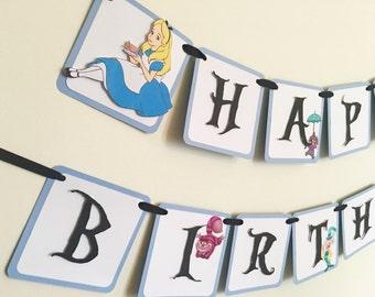 Alice In wonderland Birthday banner/Alice in Wonderland party/Alice in Wonderland Party decor