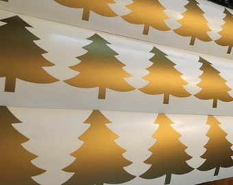 24 Gold Christmas Tree Wall Stickers, Seasonal Xmas Wall Decals, Vinyl, Shop, Car, Office, Home, Nursery Wallpaper, Wedding, Gift, Window