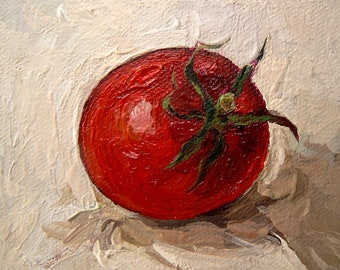 Little RED tomatoes. Still Life. Original Oil Painting on Canvas by KIMAZO 6x6 inch