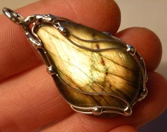 Labradorite pendant with 44mm, Labradorite, pendant - pendant silver