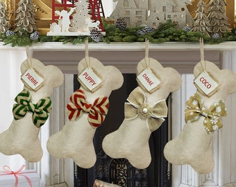 Personalized Dog Bone Christmas Stockings, Burlap Christmas Stocking, Customized Christmas Stocking