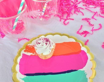 Watercolor Paint Party Plate