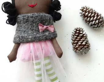 A beautiful handmade black rag doll. Black doll. . Black Rag doll.
