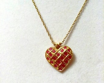 Vintage Pink Gold Quilted Heart Necklace, Avon Jewelry, Accessories, Boutique, Fashion Jewelry