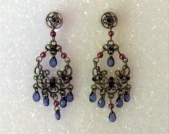 VINTAGE  Blue Earrings, Red Earrings, Beaded Earrings, Chandelier Earrings, Dangle Earrings, Multicolor Earrings, Accessories, Boutique