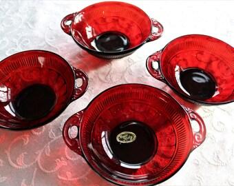 Royal Ruby Small Berry Bowls - Coronation/Saxon Pattern - Set of 4