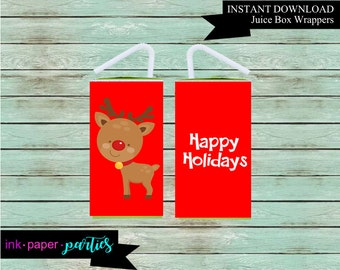 Printable Christmas Holiday Reindeer Juice Box Wrappers Party Favors Favor Labels Digital File Instant Download
