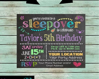Sleepover Slumber Party Birthday Party Invitations Invites ~ We Print and Mail to You