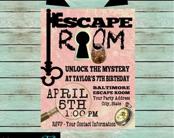 Mystery birthday etsy for Escape room party