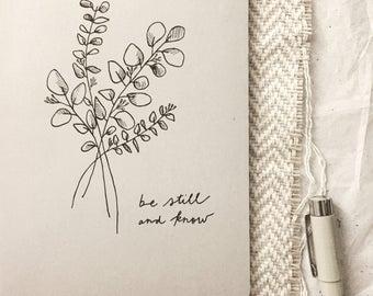 Original Bespoke Ink Botanical Illustration Handlettering Modern Calligraphy Kraft Paper art design notebook journal sketch book