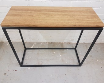Contemporary Industrial Console Table with Exotic Hardwood