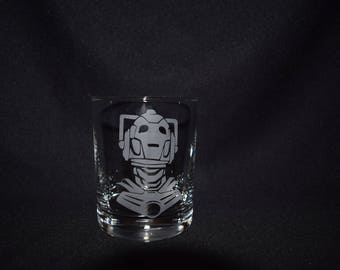 Doctor Who Inspired Cyberman Etched Glasses
