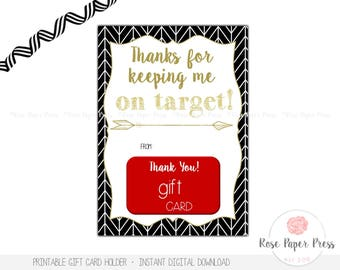 Teacher Appreciation Gift Card Holder, Thanks for Keeping Me on Target | Printable Instant Digital Download | Herringbone | End of Year Gift