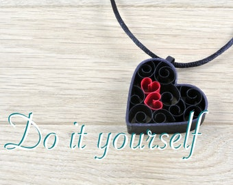 Heart shape pendant in black paper DIY kit. Kit for quilling for beginner, child or adult, creative kit rolled, color choice.