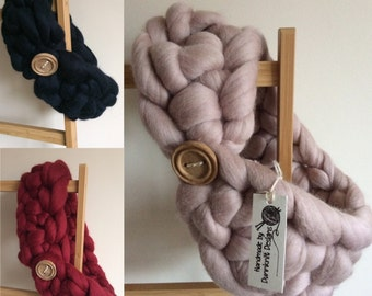 Large Collar with a Handmade button fastening - Chunky Crocheted Scarf - Chunky Merino Wool