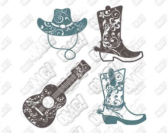 Cowgirl, Cowboy, Boots, Hat, Guitar, Gypsy Monogram, Brave Girl svg dxf eps jpeg cutting files die cut decal cricut silhouette
