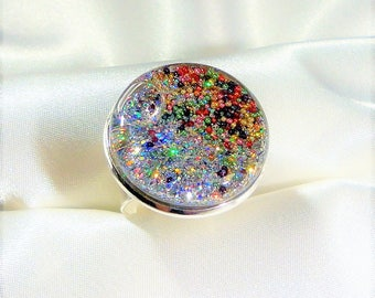 Multicolor Ring, Globe Ring Snow Globe Ring, Snow Globe Jewelry, Ring with Bling,