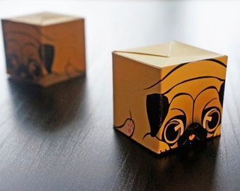 Pug Mug Paper Craft Bundle, Chibby Animal DIY, Paper Toy, Cute Box, box for chocolate, Desktop Display, Art Collectables, Home Decor