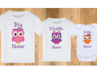 Big Middle Little Sister Owls - Matching Shirts for Sisters!