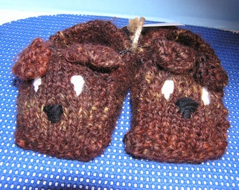 Hand Knit Child's Doggie Slippers