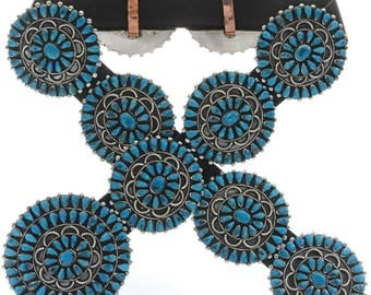 Vintage Turquoise Concho Belt by Victor Moses Begay 1970's Navajo Jewelry