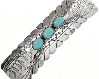 Southwest Silver Barrette Turquoise Navajo Crafted Sterling
