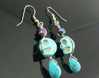 Handmade Hematite and Turquoise Skull Earrings