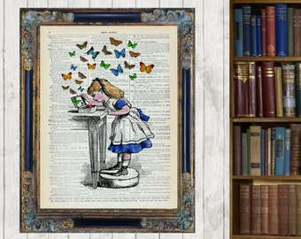 Alice in Wonderland jewellery box butterfly Vintage Dictionary Page Wall Art Print Picture Home Decor Original Artwork Framed and Mounted