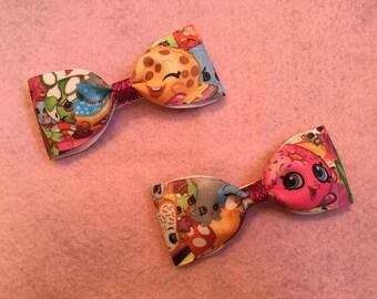Shopkins hair bows. Pair of 2 hair bows. Handmade hair bows. Girl hair bows. Toddler hair bows.