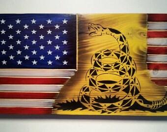 "Don't tread on me Gadsden American combination flag wall art 10""x 19"""