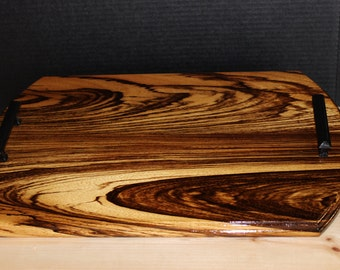Serving Board Zebrawood with handles/Waterlox finish