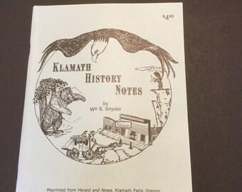 Klamath History Notes, 1988, autographed