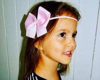 Classic light pink big bow with skinny headband