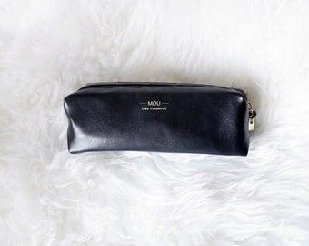 Monogrammed Pencil pouch /  Leather pencil case / Black Pen case / Pencil pouch / Cosmetic bag / Makeup bag / Pen pouch