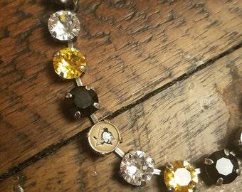 8mm Swarkovski Crystal Necklace Pittsburgh Penguins