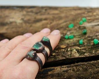 Raw emerald ring / May raw ring / Green raw ring / Rough emerald ring / May stone ring / May rough ring / Green rough ring / raw rock ring